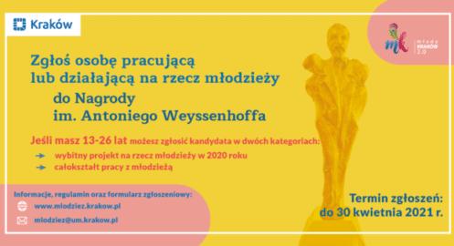 Znasz osoby działające na rzecz młodzieży w Krakowie? Zgłoś je do Nagrody im. Antoniego Weyssenhoffa!